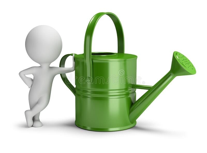 3d small people - watering can. 3d small person leaned on a big green watering can. 3d image. White background vector illustration
