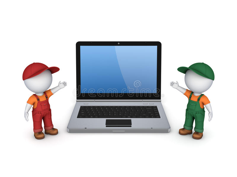 3d small people in workwear and notebook. stock illustration