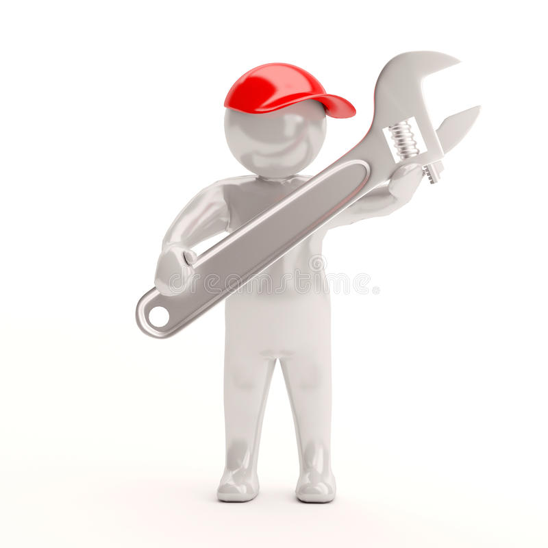 3d small people - wrench in hands royalty free illustration