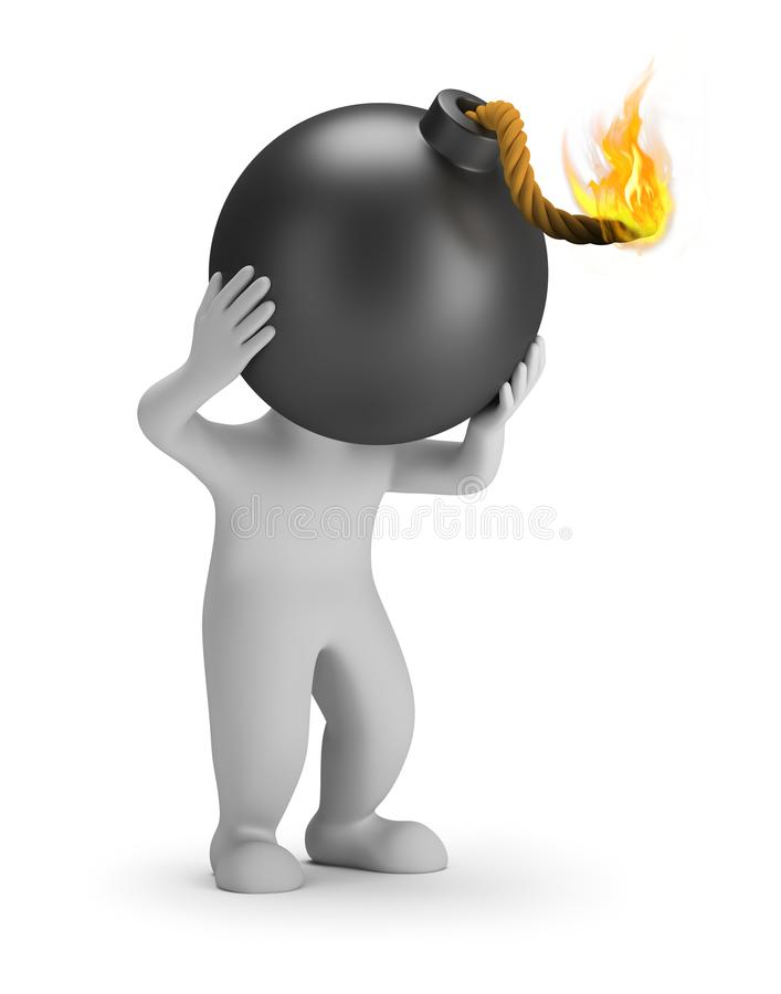 3d small people - head bomb. 3d small person with a bomb head. 3d image. White background royalty free illustration