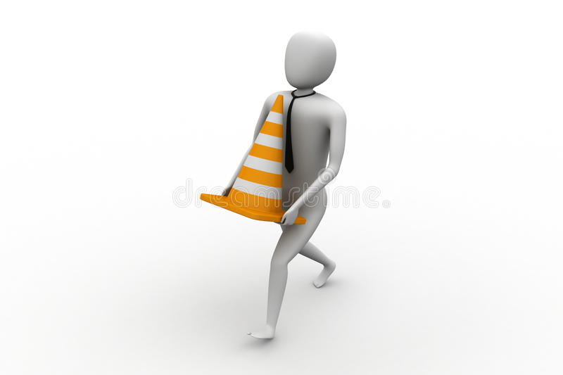 3d small person carrying the traffic cone vector illustration