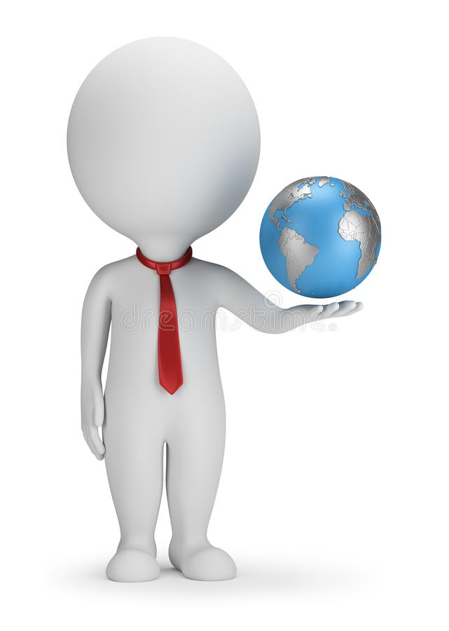 3d small people - manager and Earth vector illustration