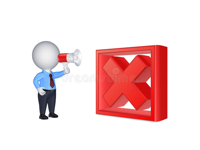 Download 3d Small Person With Megaphone And Cross Mark. Stock Illustration - Illustration: 35597325
