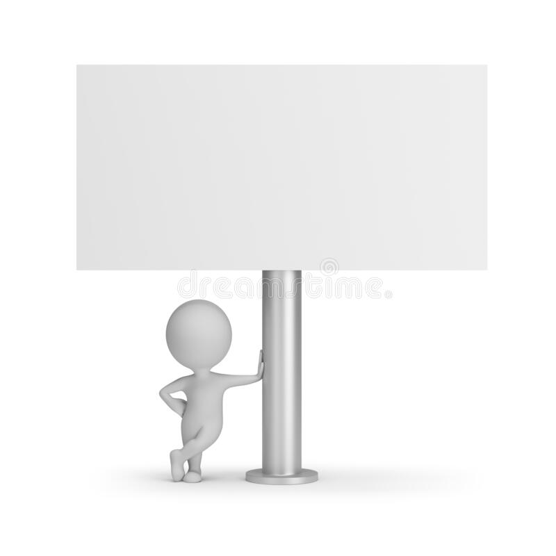 3d small people - billboard. 3d small person next to the billboard. 3D generated image. White background royalty free illustration