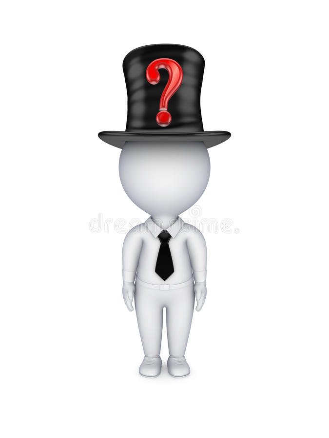 Download 3d Small Person With Red Query Mark On Top-hat. Stock Illustration - Image: 30014726