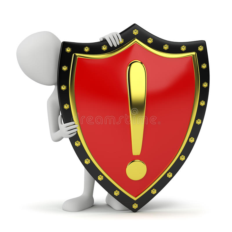 3d small person and shield. stock illustration