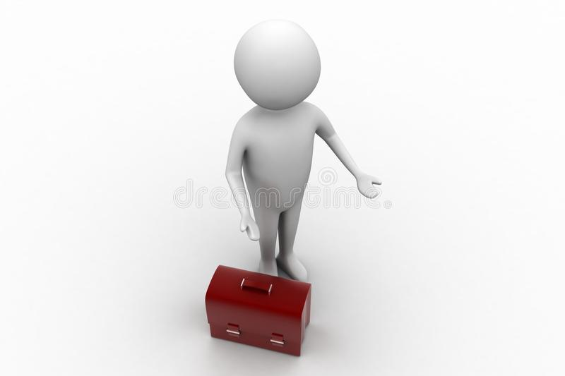 3d Small Person Standing Next To A Leather Bag Stock Illustration