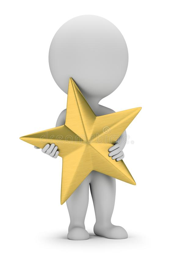 3d small people - golden star vector illustration
