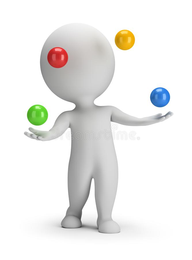 3d small people - throws balls stock illustration