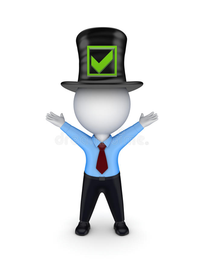 3d Small Person In Top-hat With Green Tick Mark. Royalty Free Stock Images