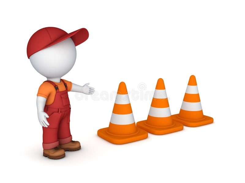 3d small person and traffic cones stock illustration