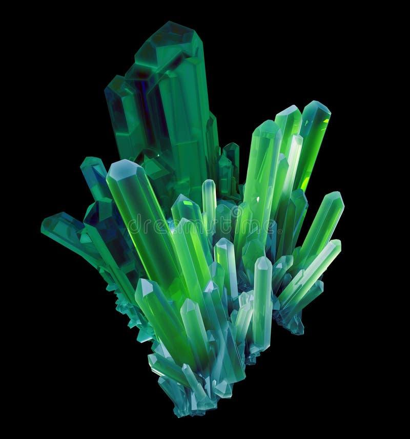 3d smaragdgroene kristal, vat gefacetteerde gem, ruw goudklompje samen royalty-vrije illustratie