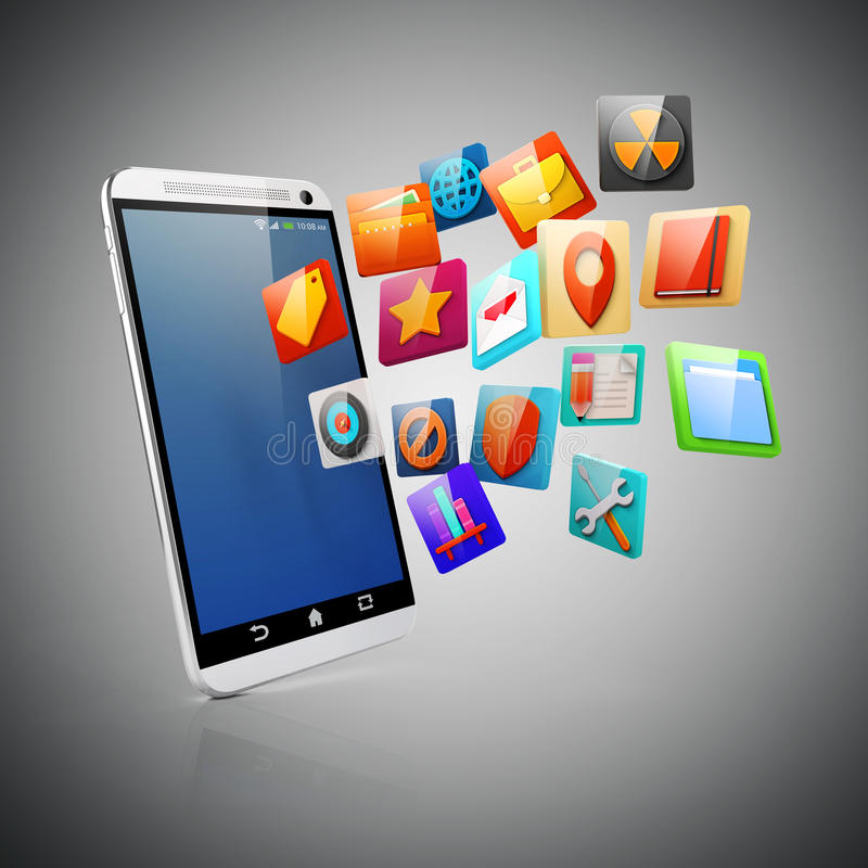 3d smart phone and icons royalty free illustration