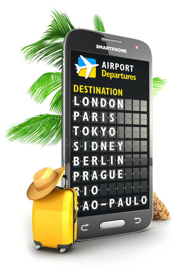 3d smartphone airport board. Isolated white background, 3d image stock illustration