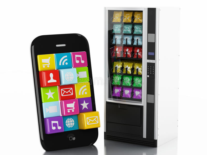 3d Smartphone with application Icons. e-commerce concept vector illustration