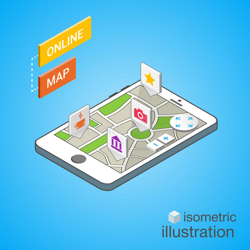 3D Smartphone with city map. Modern infographic template. Isometric vector illustration royalty free illustration