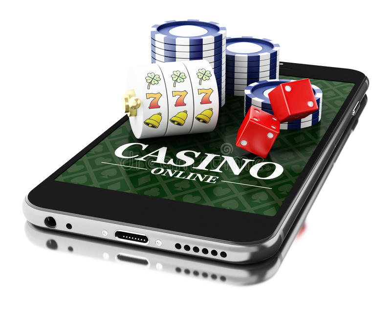 3d Smartphone with coins and dice. Online casino concept. stock photo