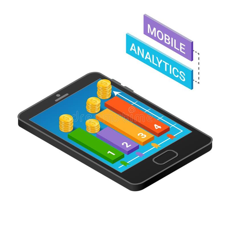 3D Smartphone con los gráficos en la proyección isométrica aislada en un fondo blanco Concepto móvil del analytics ilustración del vector