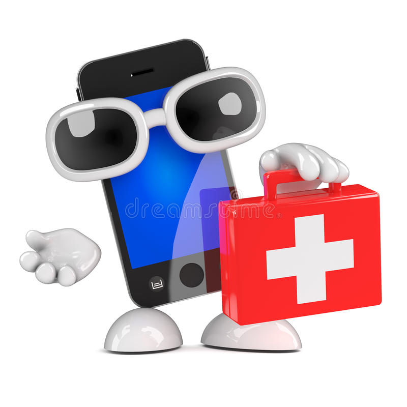 3d Smartphone first aid kit royalty free illustration
