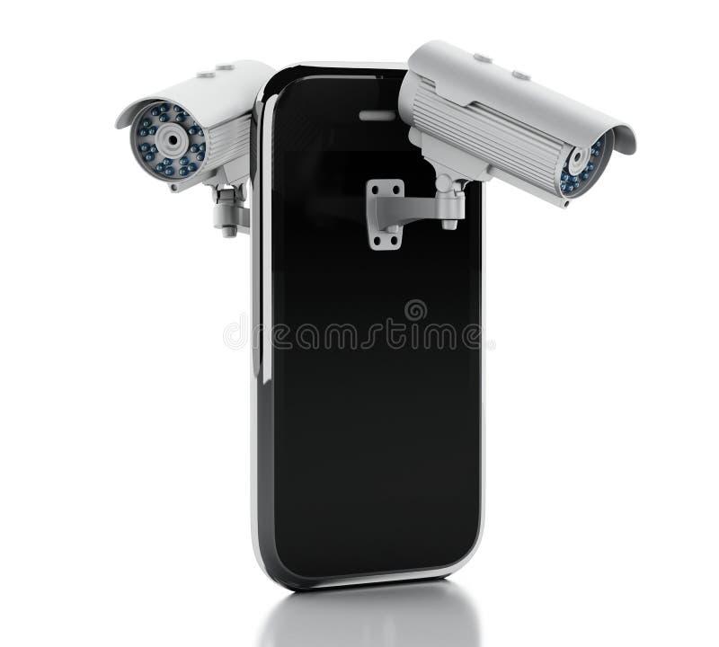 3d Smartphone met kabeltelevisie-camera Mobiel veiligheidsconcept royalty-vrije illustratie