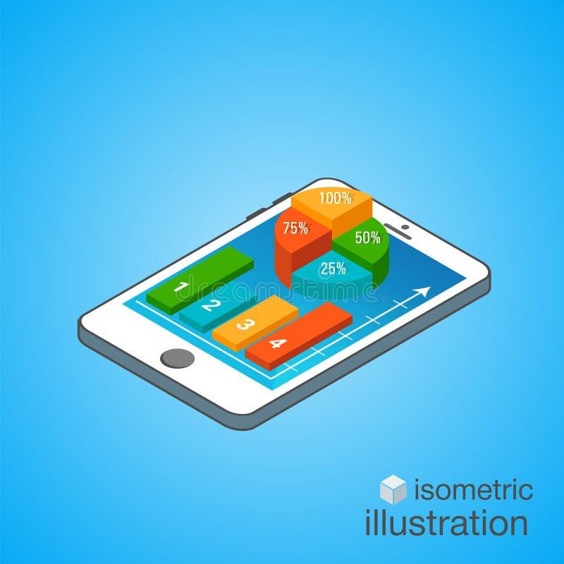 3D Smartphone mit bunten Diagrammen in der isometrischen Projektion Moderne infographic Schablone Isometrische Vektor-Illustratio stock abbildung