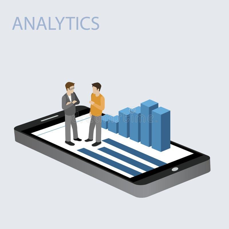 3D Smartphone mit Diagrammen in der isometrischen Projektion mit Geschäftsmann auf einem weißen Hintergrund Bewegliches Analytikk vektor abbildung