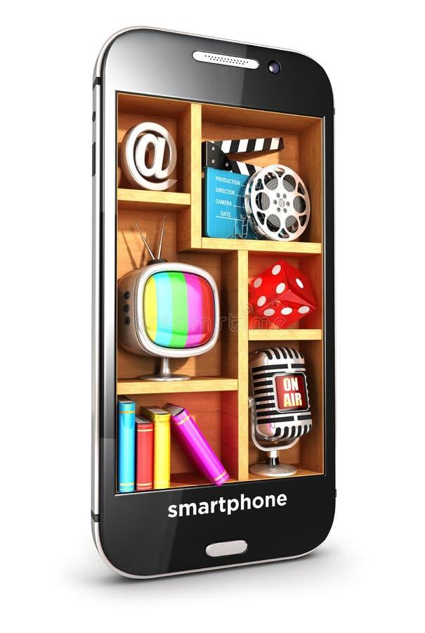 3d smartphone multimedia concept. White background, 3d image vector illustration