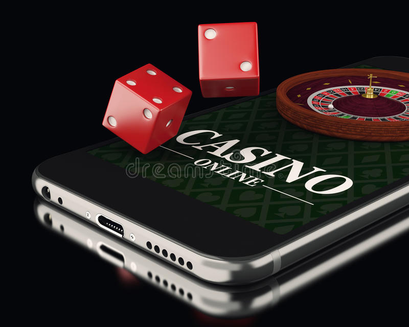 3d Smartphone with roulette and dice. Casino. 3d illustration. Smartphone with roulette and dice. Online casino concept royalty free illustration