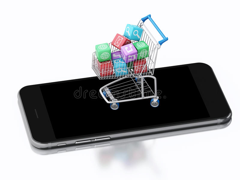 3d Smartphone and Shopping cart with Apps icons. stock illustration