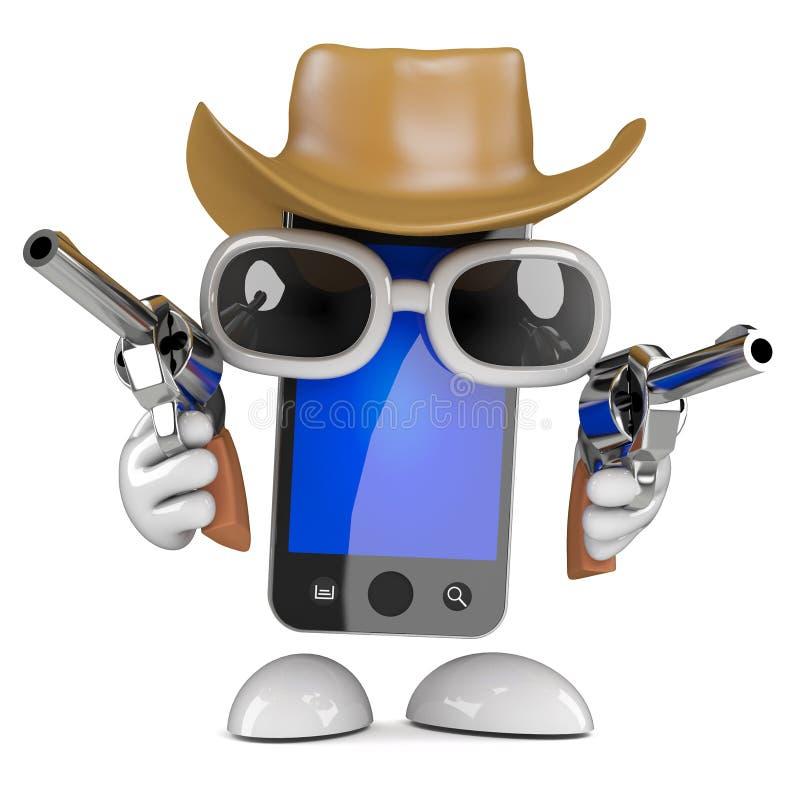 3d Smartphone ubierał jako kowboj z krócicami ilustracji