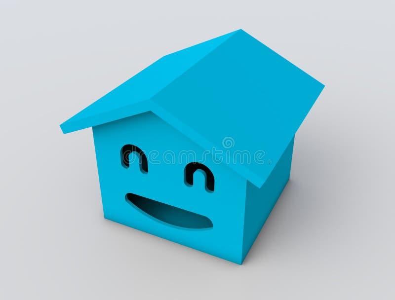 3d smile house model. Blue color royalty free illustration