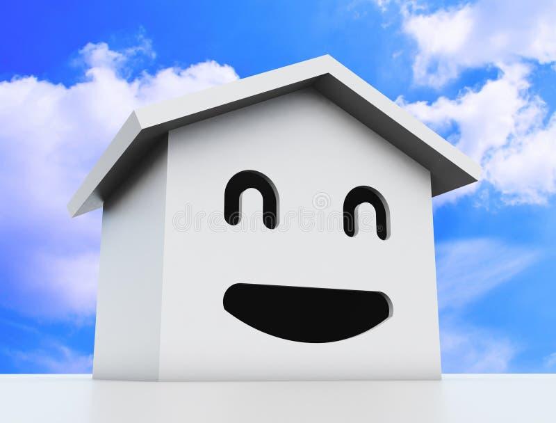 3d smile house model. White color vector illustration
