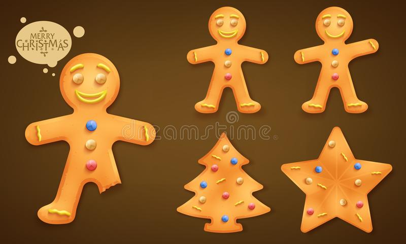 3D Smiling Brown Gingerbread Man, Christmas Tree and Star Cookies Set stock illustration
