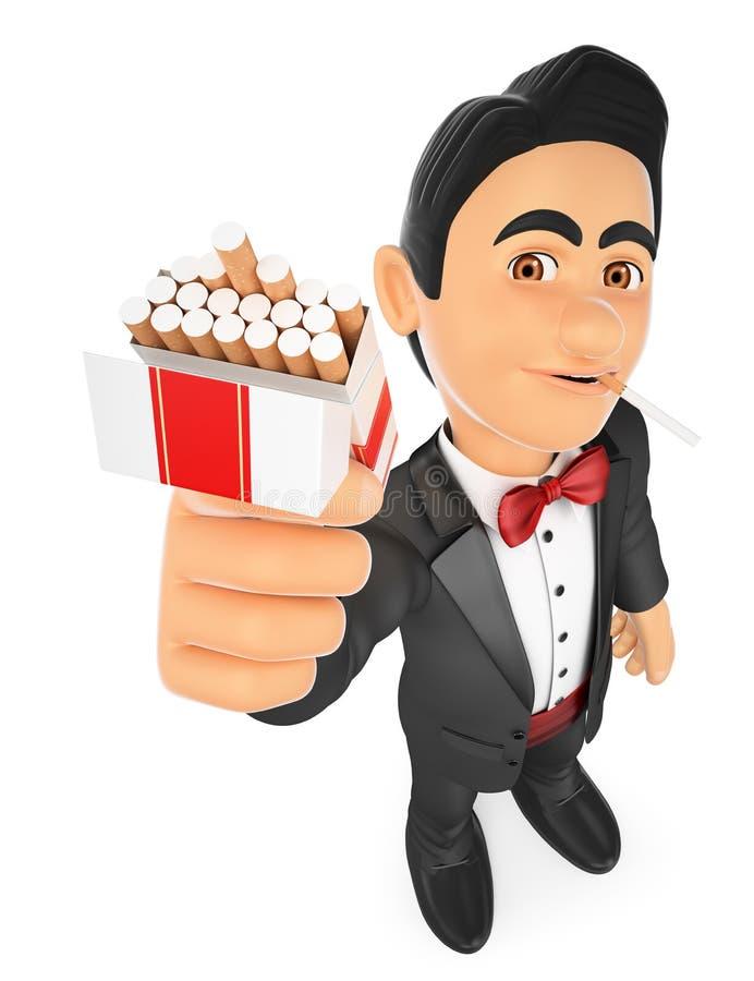 3D smokingu mężczyzna ofiara i dymienie papieros ilustracja wektor
