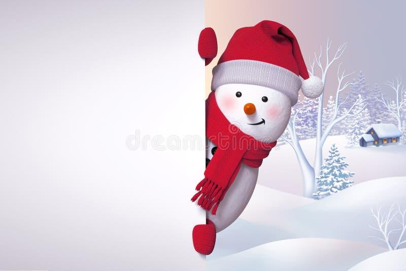 3d sneeuwman, die achter de muur verbergen, die Kerstmis backg uit eruit zien vector illustratie