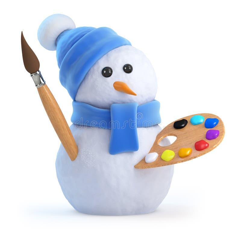 3d Sneeuwmankunstenaar vector illustratie