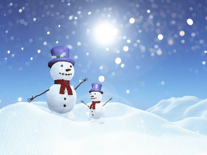 3d sneeuwmannen in sneeuwlandschap stock illustratie