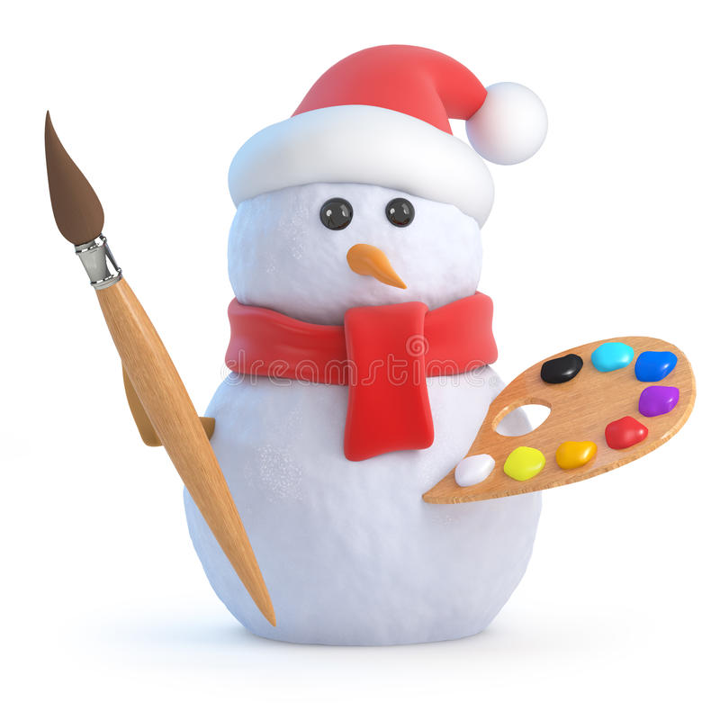 3d Snowman is an artist. 3d render of a snowman with paintbrush and palette royalty free illustration
