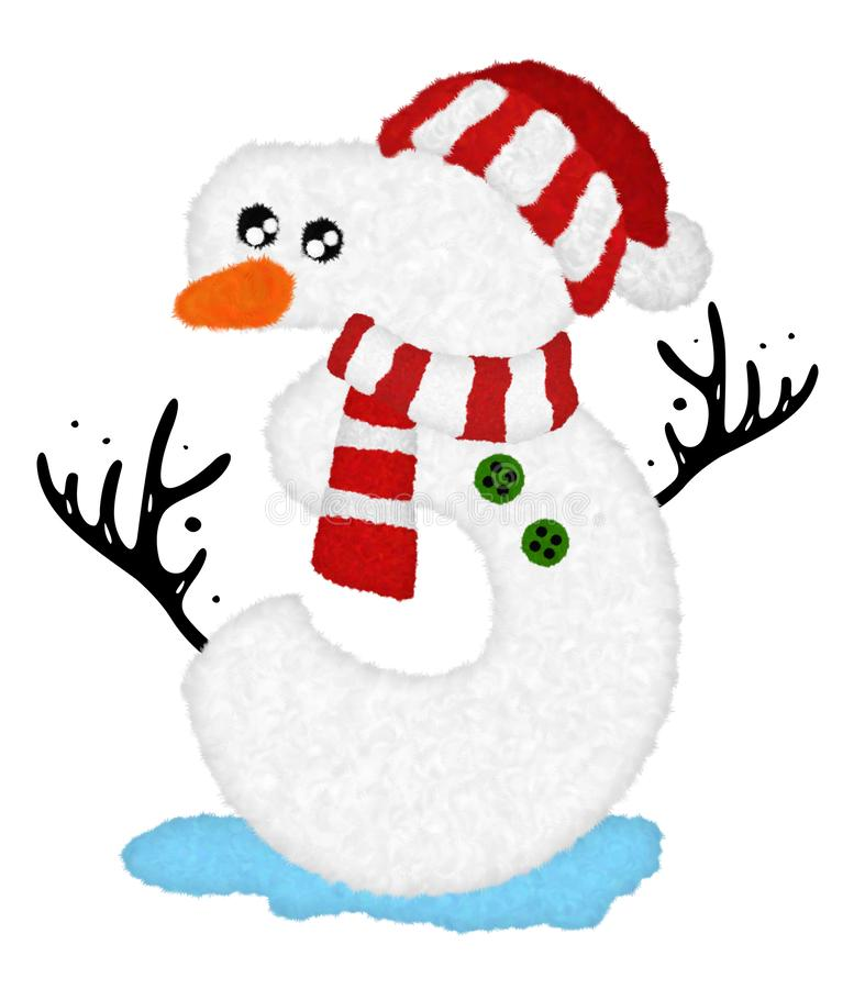 3d  U201csnowman Cartoon Character Number 0 U201d Design With Fur