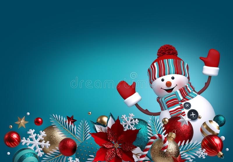 3d snowman, Christmas ornaments, balls, poinsettia flower isolated on blue background. Blank banner, greeting card template, vector illustration
