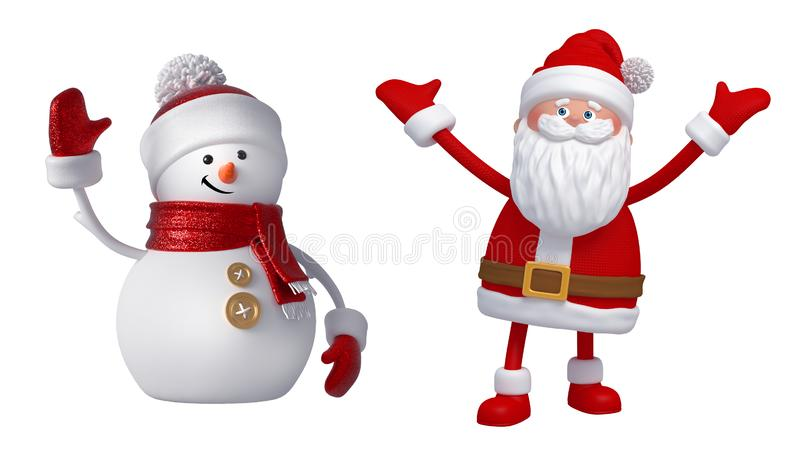 3d Snowman and Santa Claus. Christmas clip art set isolated on white background. Festive ornaments. Cute cartoon characters. Holiday icons, seasonal decor vector illustration