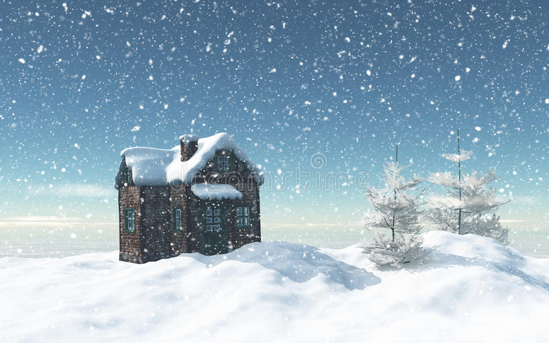 3D snowy house with trees and house vector illustration