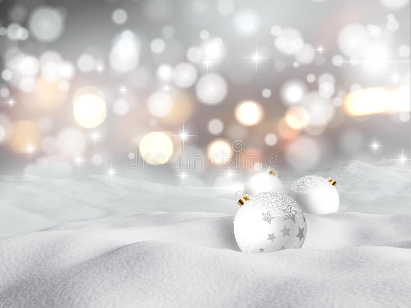 3D snowy scene with Christmas baubles stock illustration