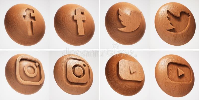3D Sociaal media houten textuurpictogram royalty-vrije illustratie