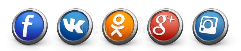 3d social icons vector illustration