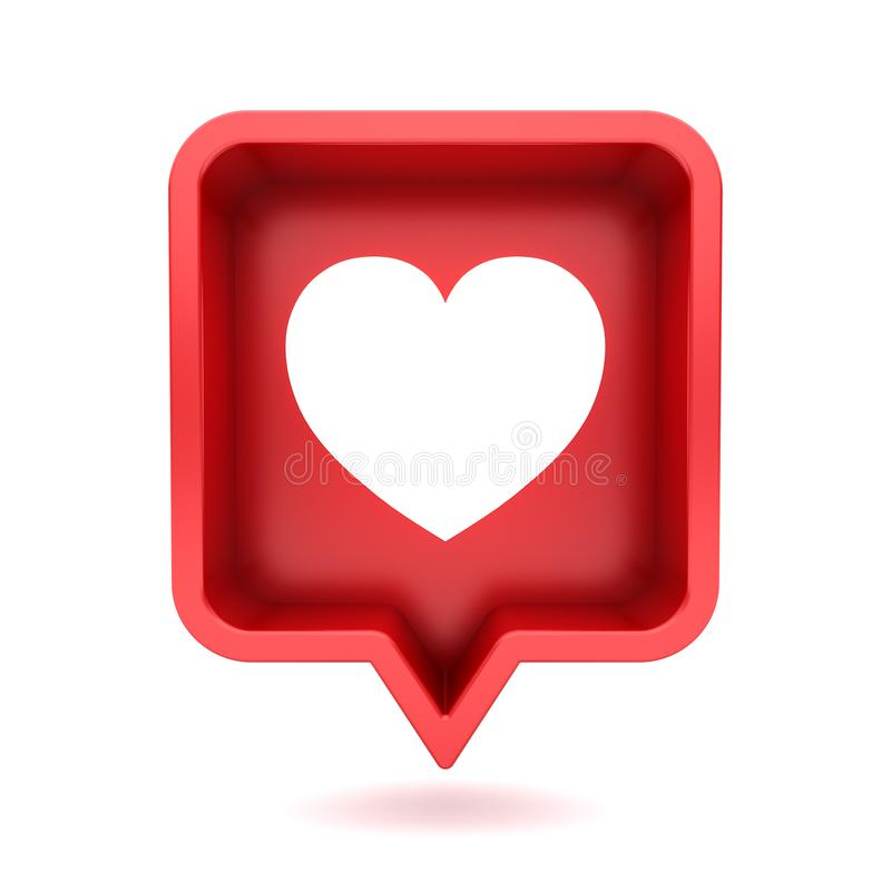 3d social media notification light of love like heart in red rounded square pin icon isolated on white background royalty free illustration