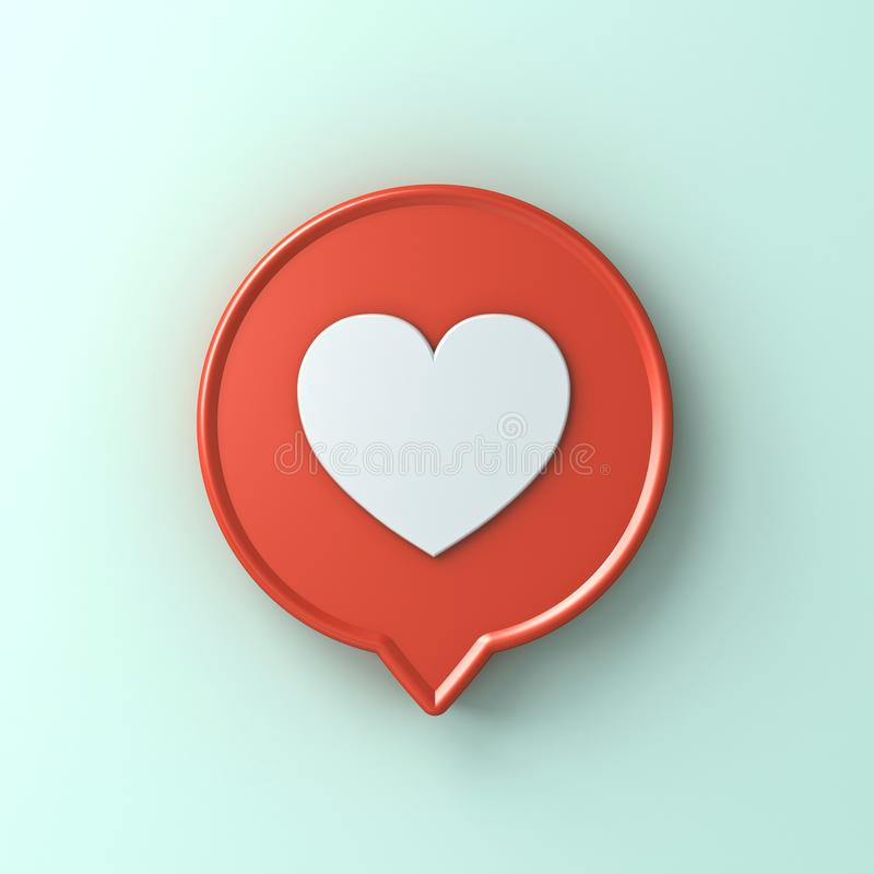 3d social media notification love like heart icon in red round pin isolated on light green blue pastel color wall background stock illustration