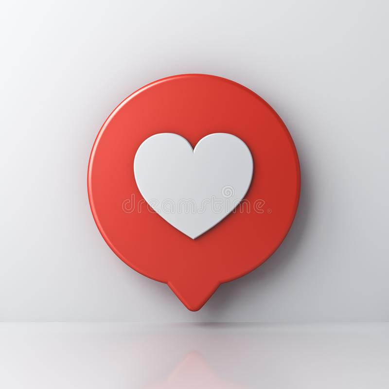 3d social media notification love like heart icon in red round speech bubble pin isolated on white wall background stock illustration