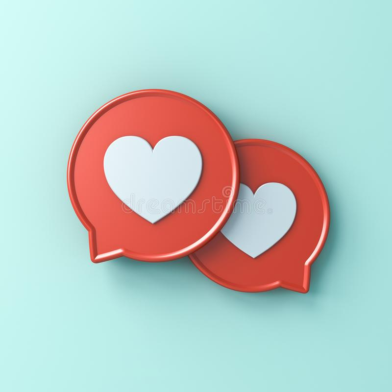 3d social media notification love like heart icons on red round speech bubbles stock illustration
