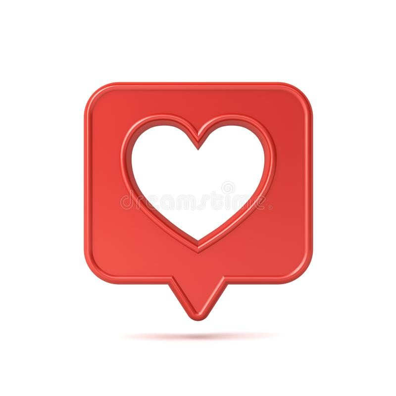 3d social media notification love like icon with hole heart shape on red speech bubble pin stock illustration